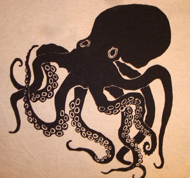 640x601 Octopus Silk Screen Print Pillow By
