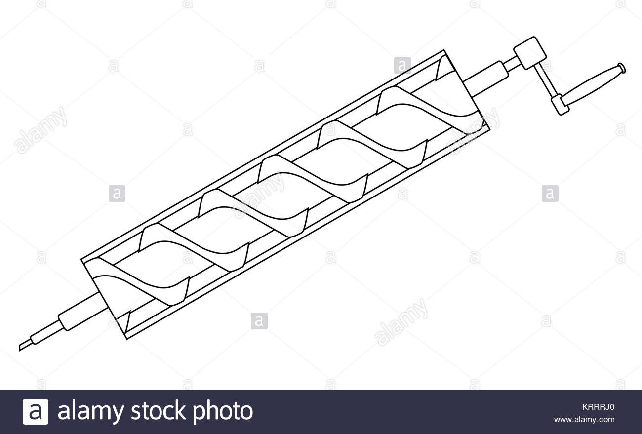1300x879 Archimedes Screw Line Drawing Stock Photo, Royalty Free Image