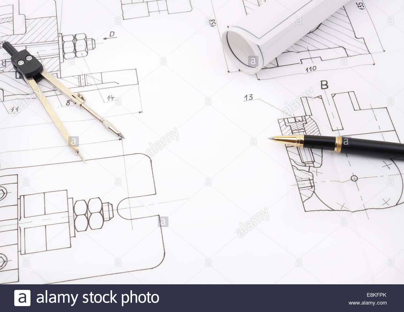 1300x1003 Blueprint Drawing Project Of Industry Detail Like Bolt Screw