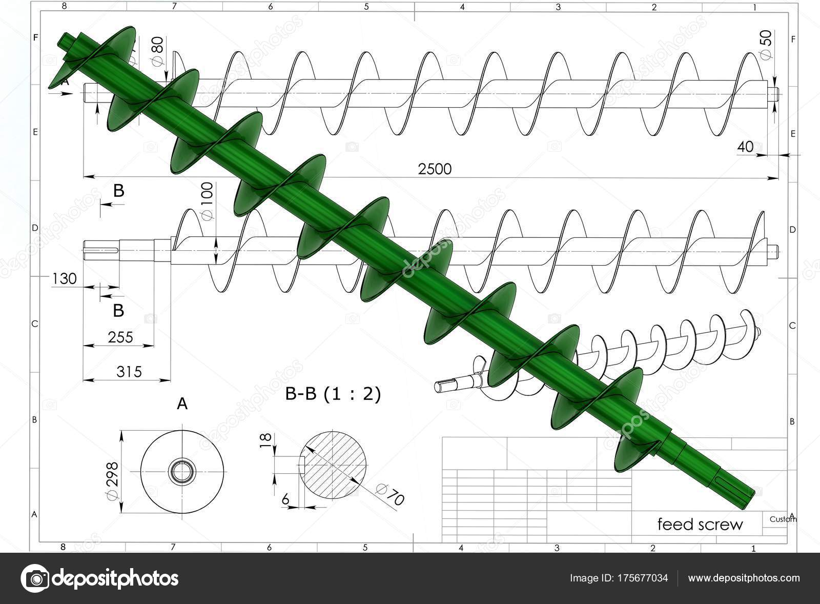 1600x1178 Illustration Archimedes Screw Engineering Drawing Stock Photo