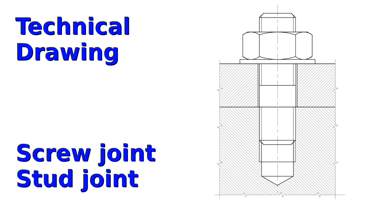 1280x720 Screw And Stud Joint (Technical Drawing, Librecad 2.2)