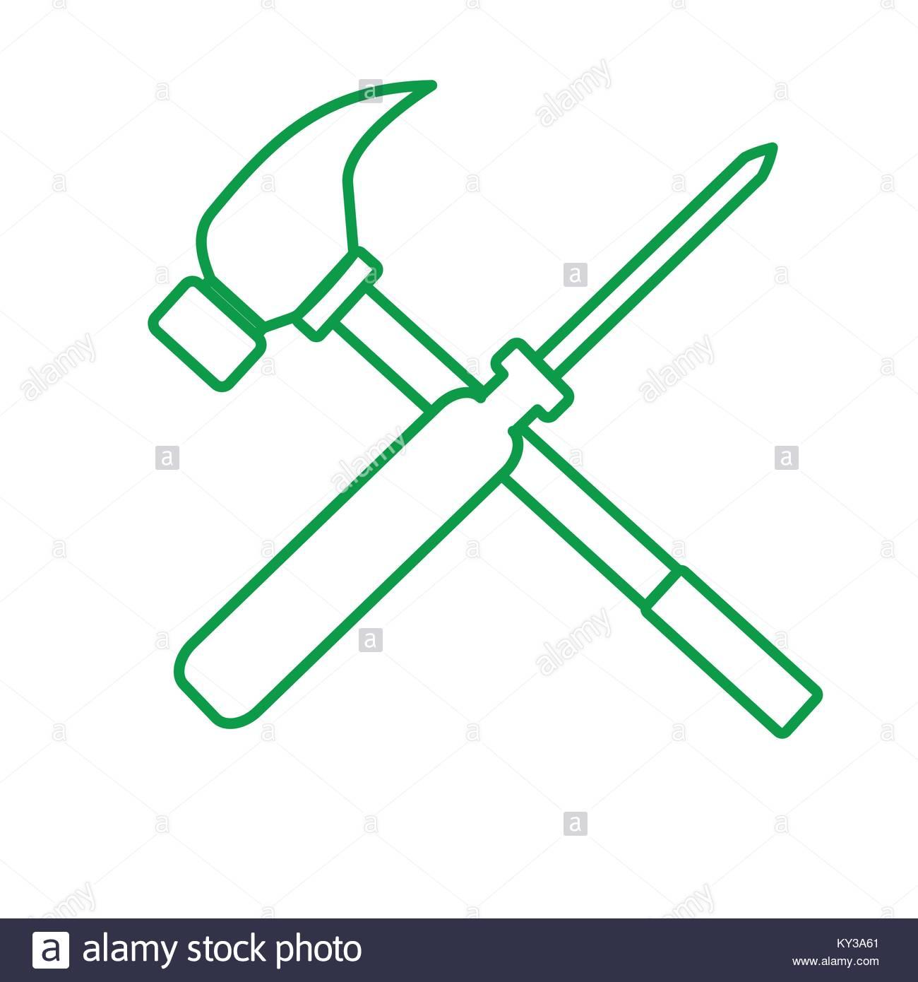 1300x1390 Outline Screwdriver Hammer Cross Drawing Vector Illustration