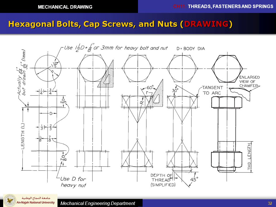 960x720 Mechanical Drawing Chapter 11 Threads Fasteners And Springs