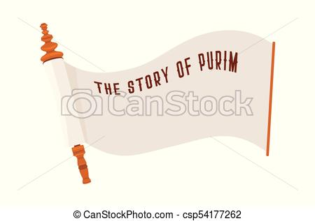 450x317 The Story Of Purim. Jewish Acient Scroll. Banner Template Clip