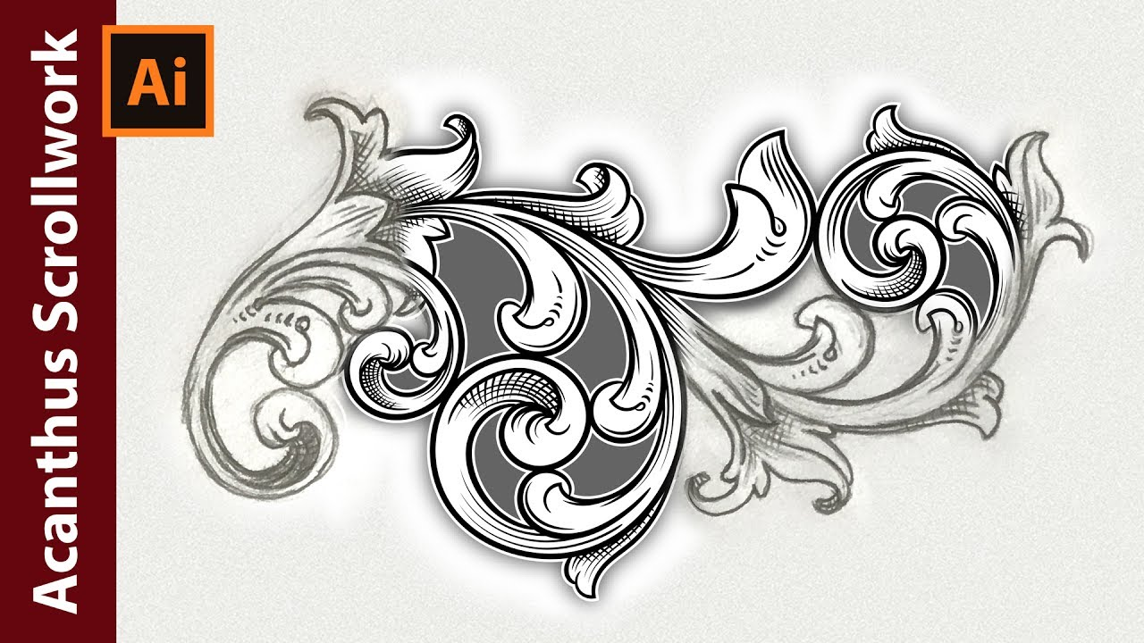 1280x720 How To Vectorize An Acanthus Scrollwork Sketch In Adobe