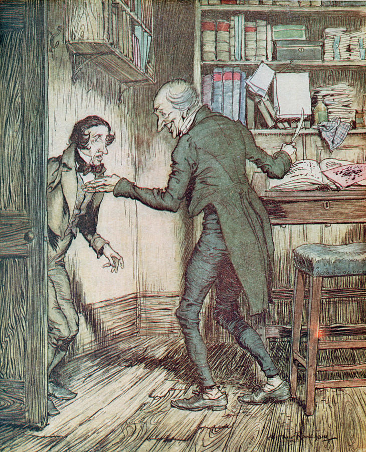 730x900 Scrooge And Bob Cratchit Drawing By Arthur Rackham