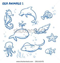 236x249 Cartoon Sea Animal In Line Art Style, Black And White Easy