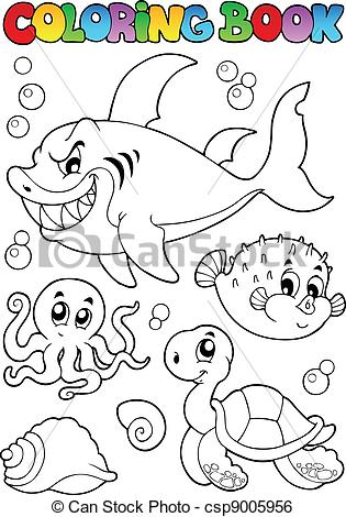 315x470 Coloring Book Various Sea Animals 1