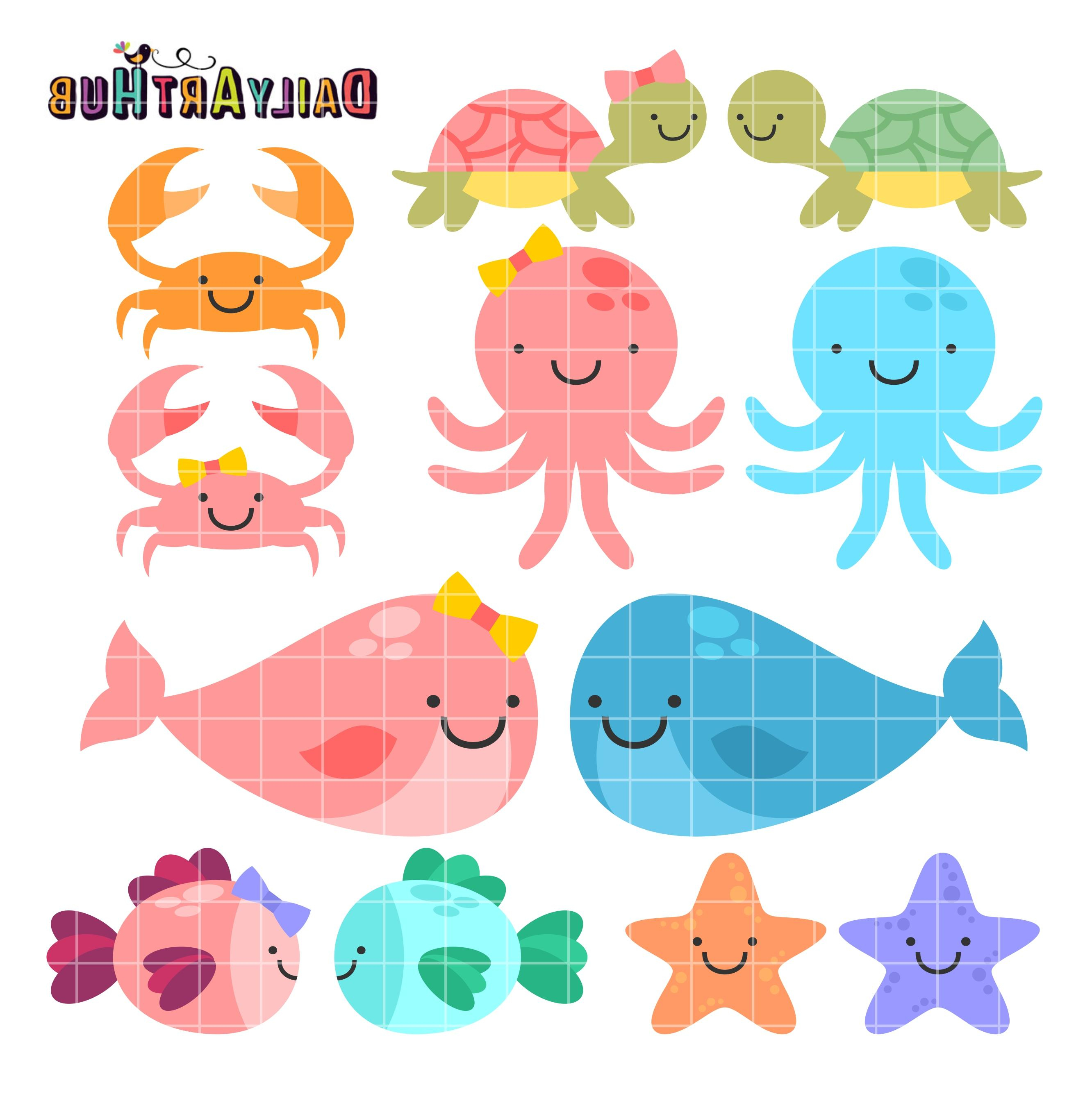 2664x2670 Cute Drawings Of Sea Animals