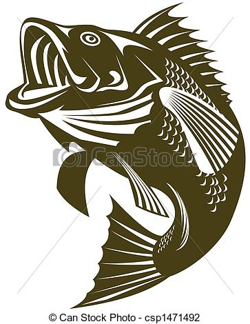 363x470 Illustratoion Of A Largemouth Bass Jumping Clip Art