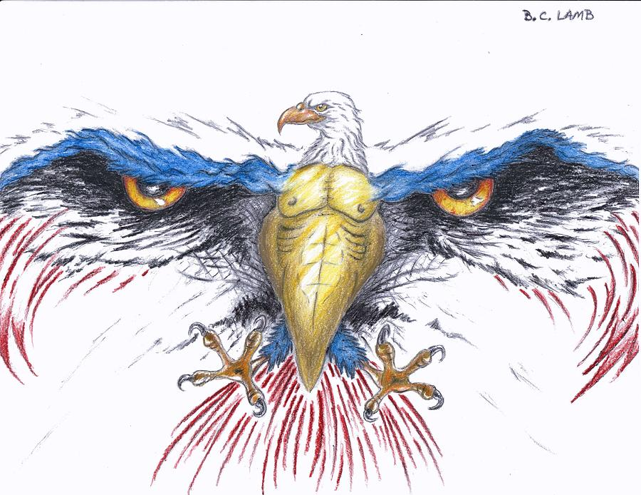900x694 American Eagle Drawing By Bryant Lamb