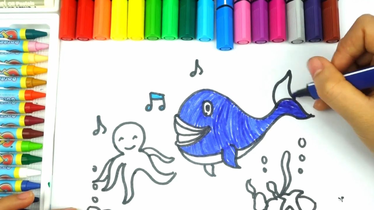 1280x720 How To Draw Sea Fish. Learning Coloring Videos For Kids