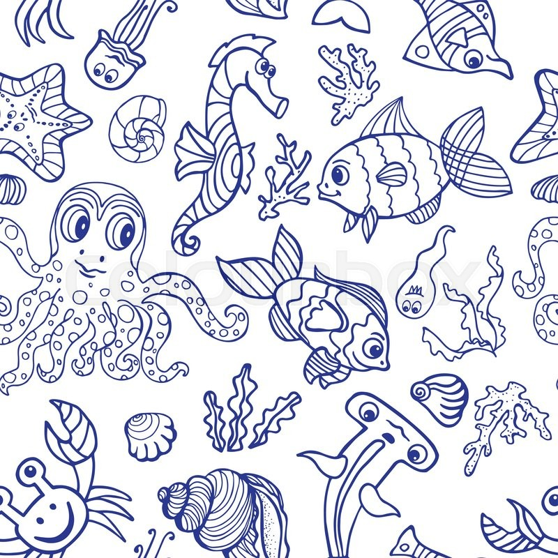 800x800 Sea Life Fish,animals Seamless Pattern,background.funny Cartoon