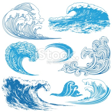 380x380 Collection Of Waves In Different Techniques. Vector Art, Art