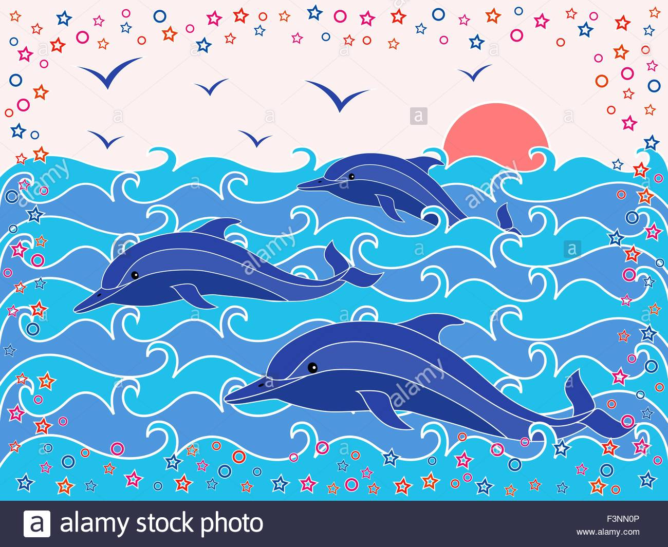 1300x1065 Three Dolphins In The Sea Waves