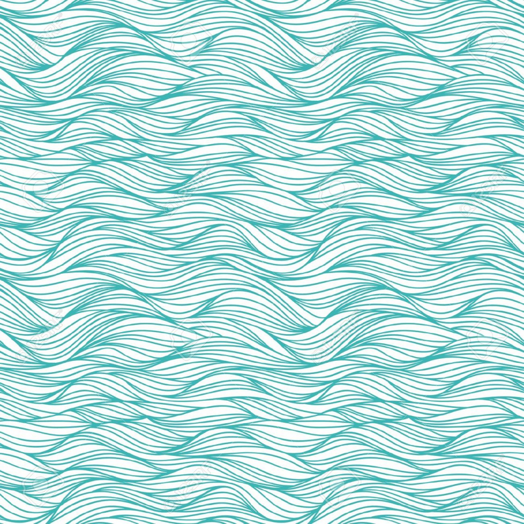 1024x1024 Water Wave Drawing Seamless Pattern With Drawing Waves Royalty