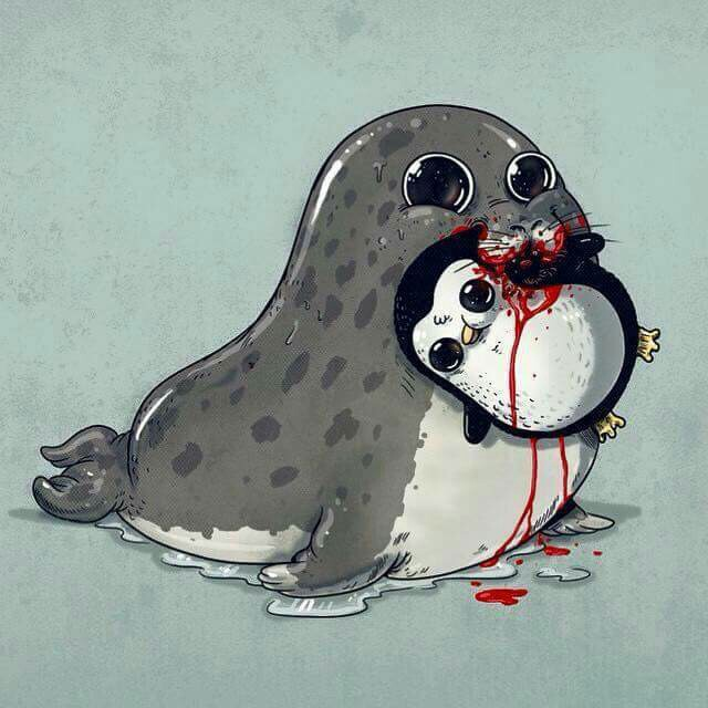 640x640 Seal And Penguin Nature Is Adorable Artwork