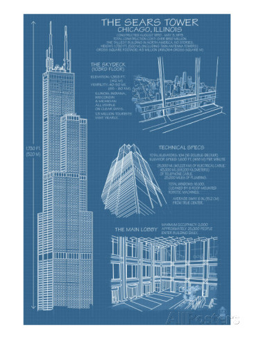 366x488 Sears Tower Blue Print