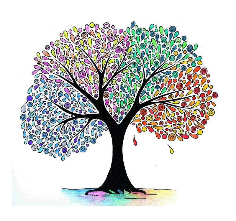 800x750 Abstract Hand Drawing Of A Four Seasons Tree Stock Photo Colourbox