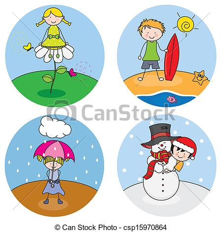 450x470 Children Showing The Four Seasons Clip Art Vector