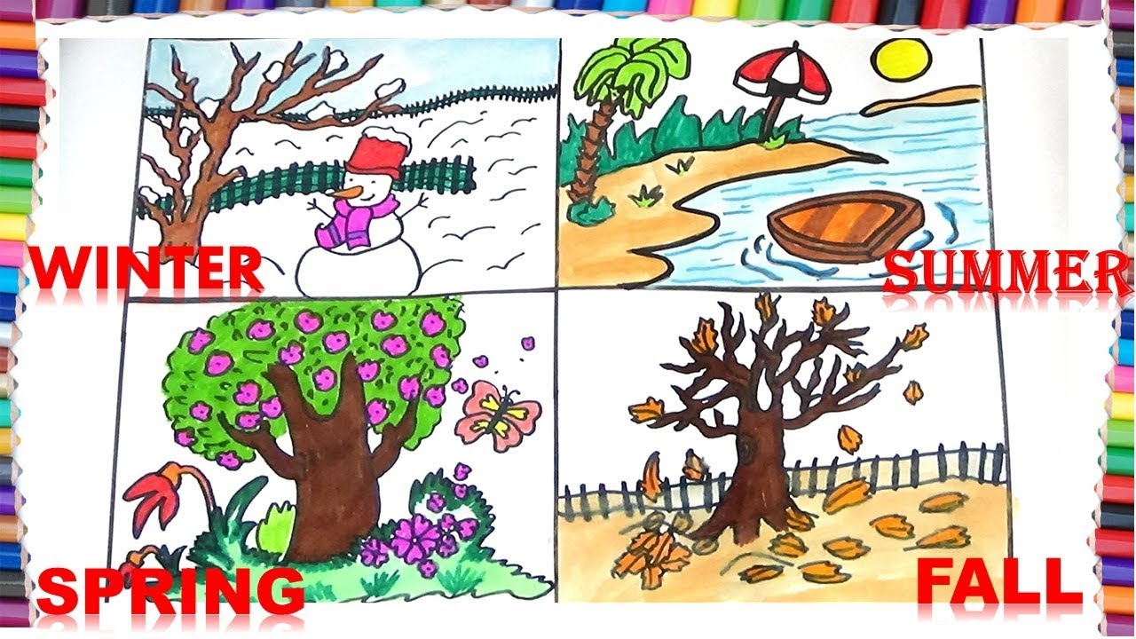 1280x720 How To Draw Four Seasons For Kids How To Draw Winter,fall,summer