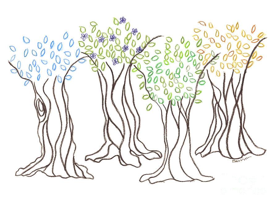 900x664 Seasons Drawing By Bari Titen