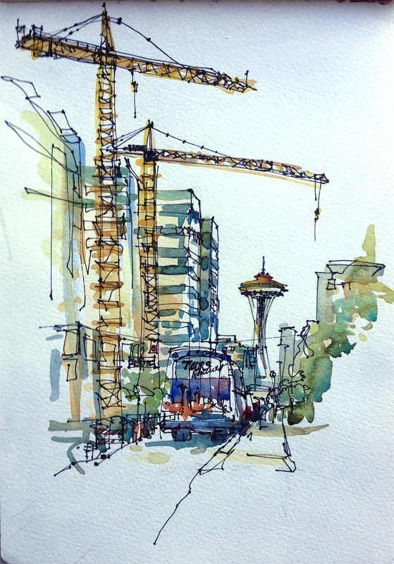 559x800 My Space Needle Obsession Sketch Away Travels With My Sketchbook