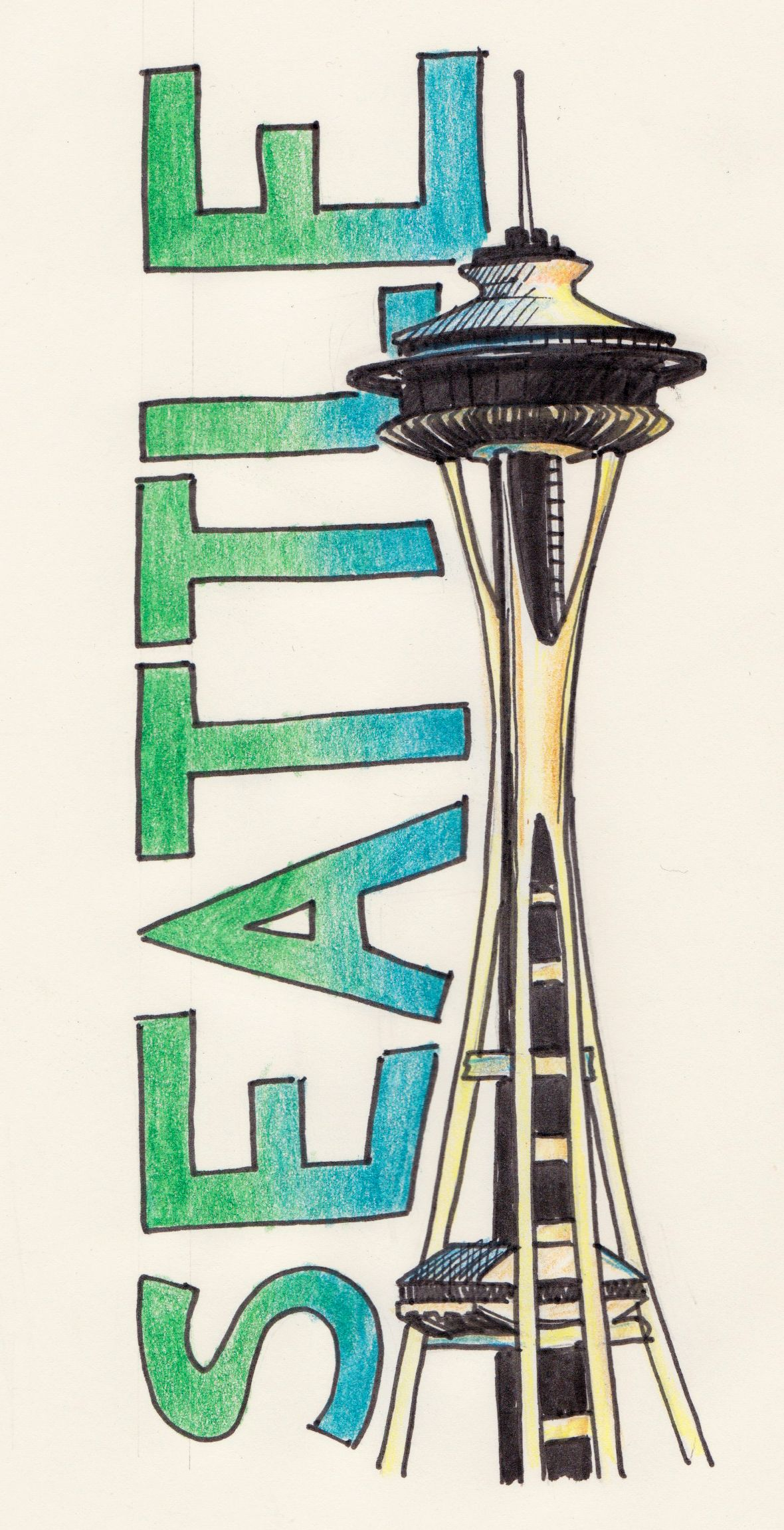 1180x2302 Pics For Gt Space Needle Drawing Aby's Ideas