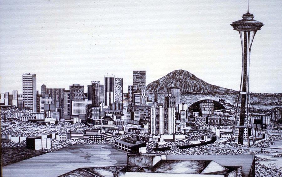 900x565 Seattle Skline Drawing By Tammera Malicki Wong