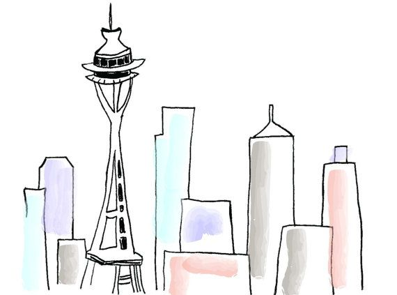 570x423 Seattle Space Needle Line Drawing 5x7 Print House