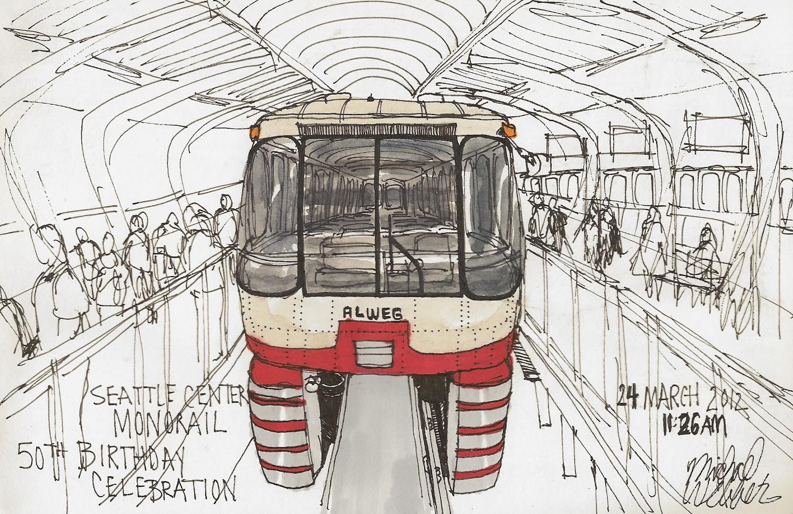 1600x1037 Urban Sketchers Seattle Seattle Center Monorail