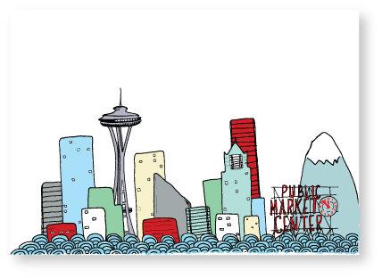 428x312 Seattle Skyline Drawing