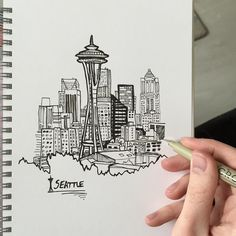 236x236 Sketch Of Seattle Skyline Seattle Skyline Classroom Auction