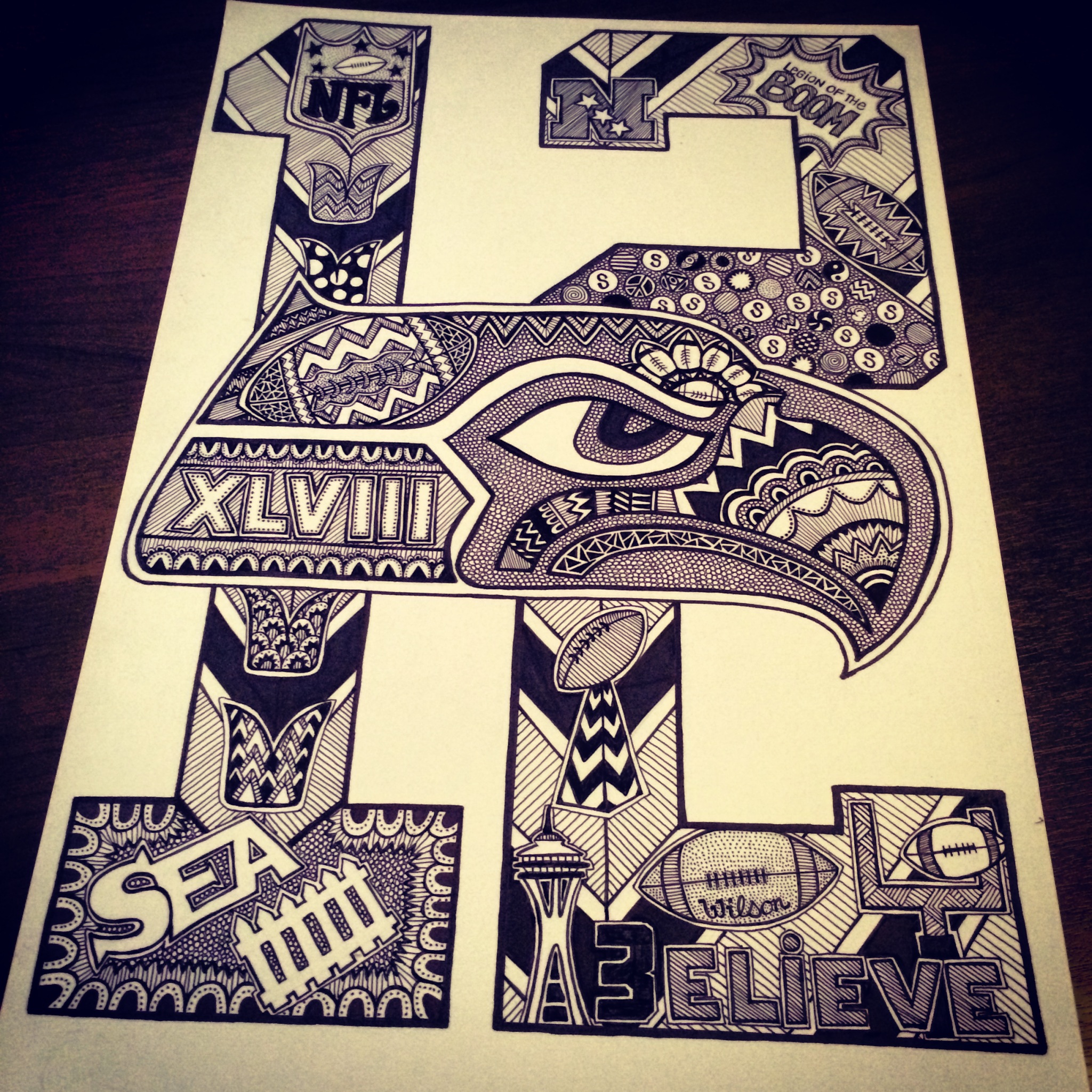 Seattle Seahawks Drawing At Getdrawings Com Free For