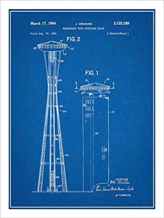 338x450 1961 John Graham Seattle Space Needle Patent Print Art