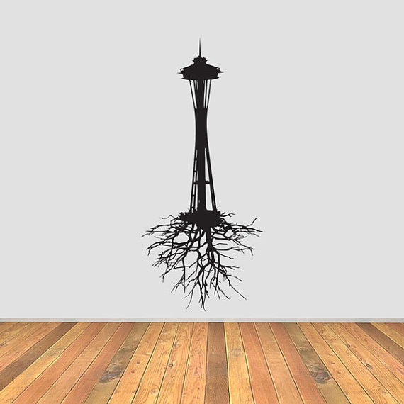 570x570 Seattle Space Needle With Roots Vinyl Decal By Currentcutsvinyl