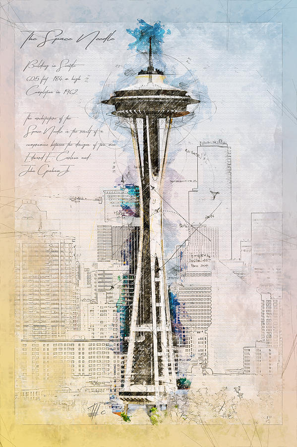 599x900 Space Needle, Seattle, Usa Drawing By Theodor Decker