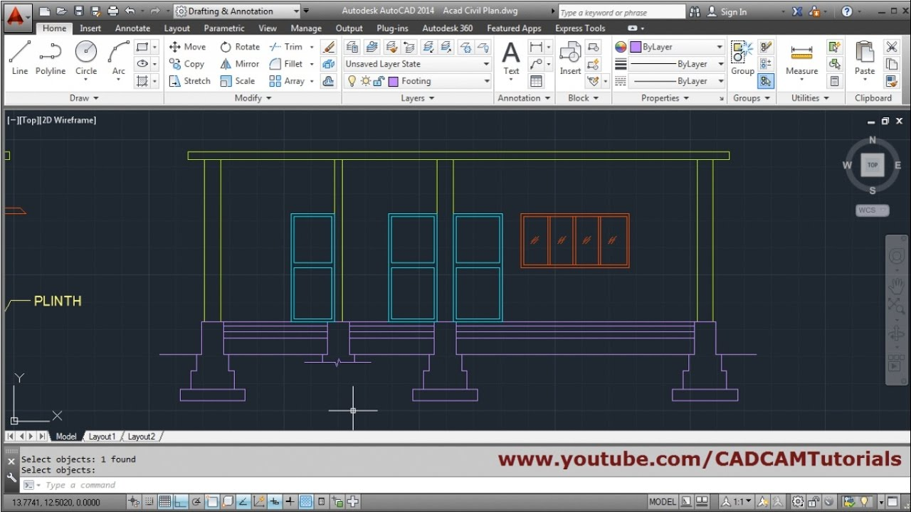 1280x720 Autocad House Section Drawing Tutorial