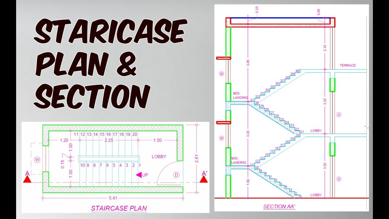 1280x720 How To Draw Staircase Plan Amp Section In Autocad