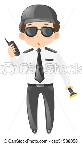 269x470 Security Guard With Radio And Torch Illustration Clipart Vector