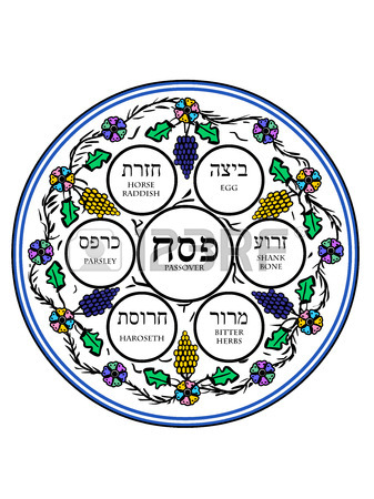 337x450 Fun Seder Passover Plate In A Doodle Style Royalty Free Cliparts