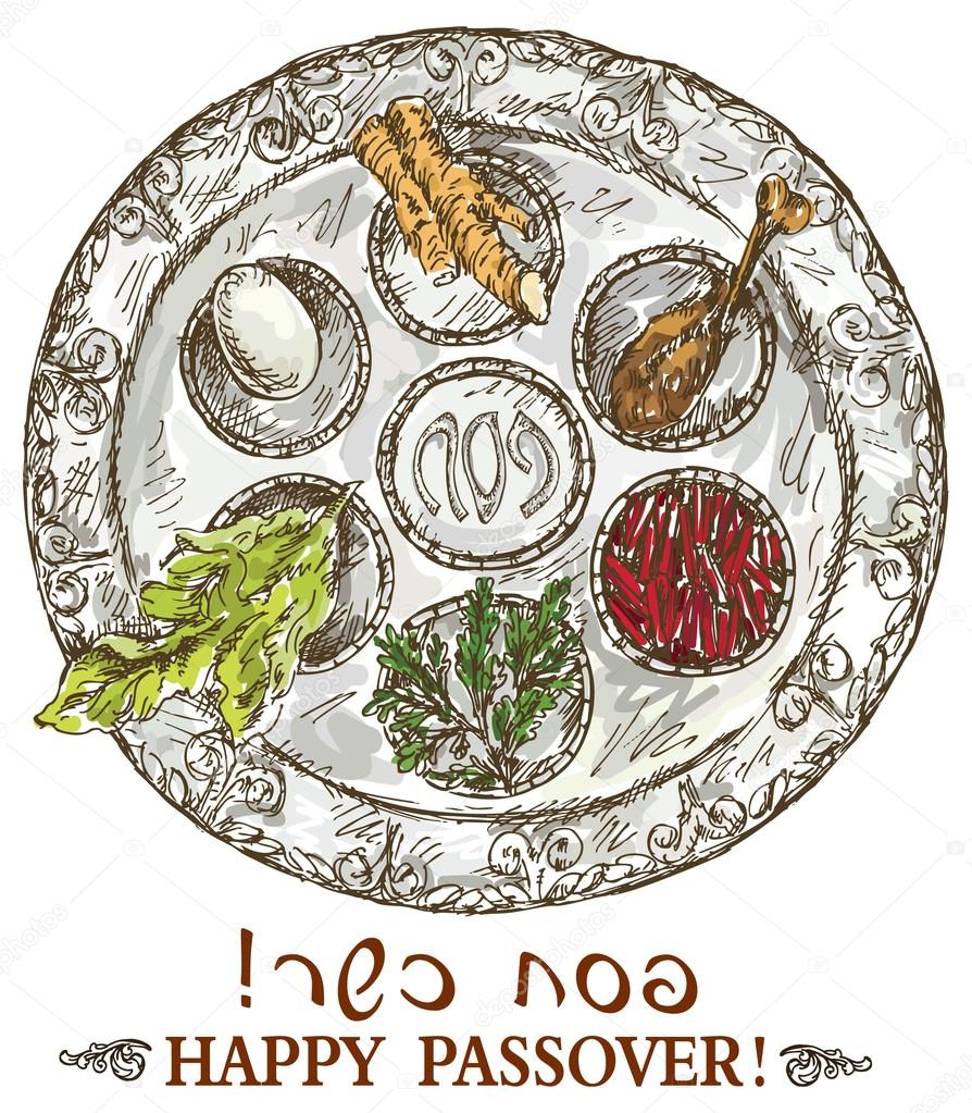 894x1023 Hand Drawing Passover Plate Stock Vector Grafnata