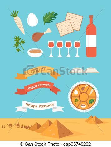 356x470 Passover Seder Plate With Flat Trasitional Icons Over A Vectors