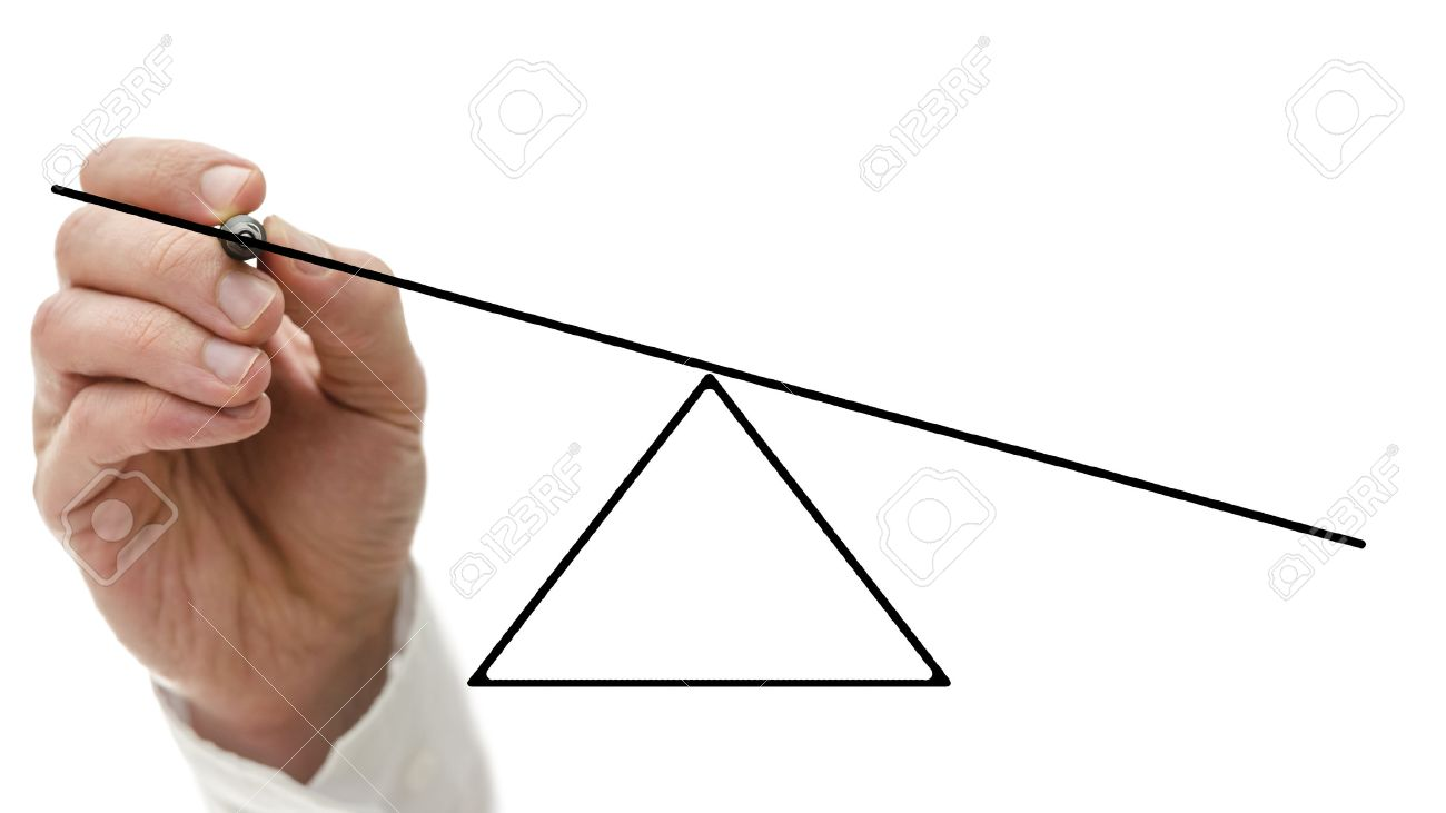 1300x731 Male Hand Drawing A Diagram Of Empty Seesaw Showing