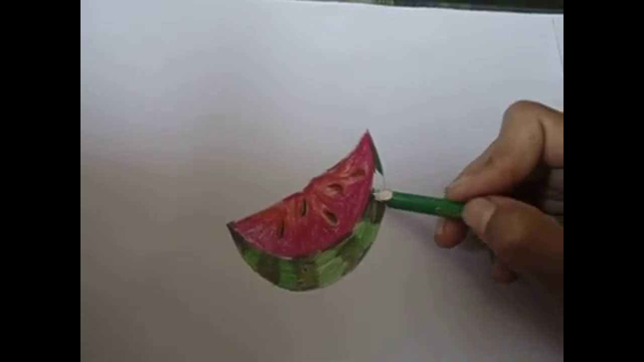 1280x720 Drawing For Kids,watermelon Drawing By Using Semicircle In Simple