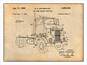 300x225 1950 Peterbuilt Cab Over Diesel Semi Truck Patent Print Art