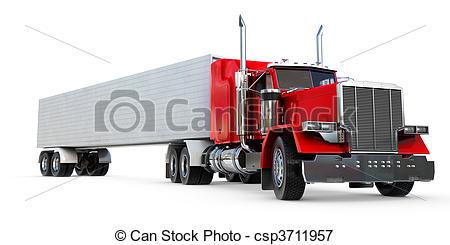 450x245 Big 18 Wheeler. An 18 Wheeler Semi Truck On White. Stock