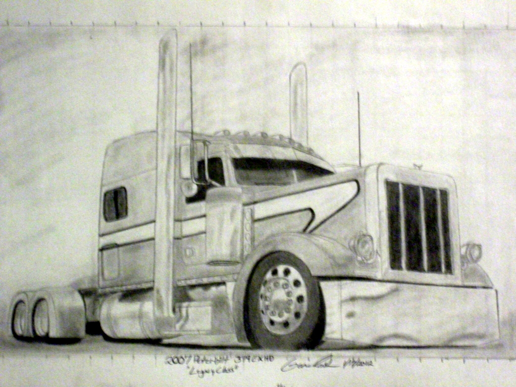 1022x766 Pencil Drawings Of Semi Trucks Drawing Forum And Art Community
