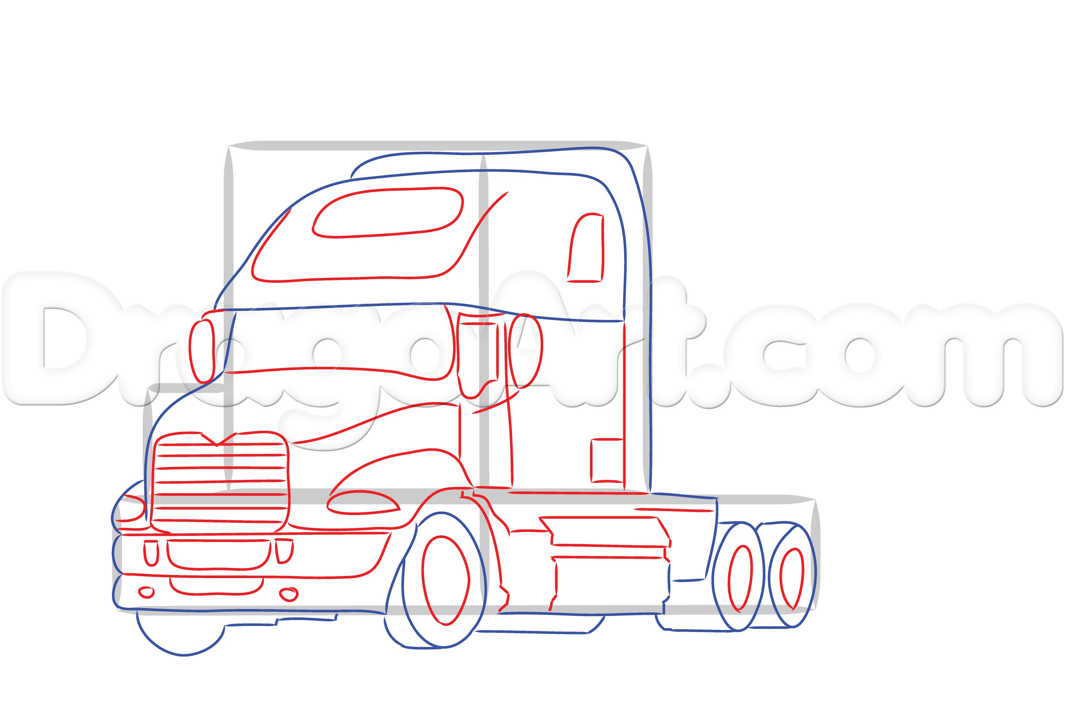 3476x2356 Semi Truck Outline Drawing How To Draw A Mack Truck, Step By Step