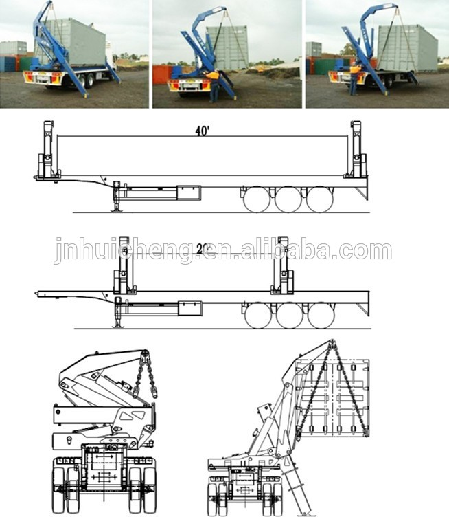 654x752 3 Axle Container Side Loader Semi Trailer,40 Ft Skeleton Side